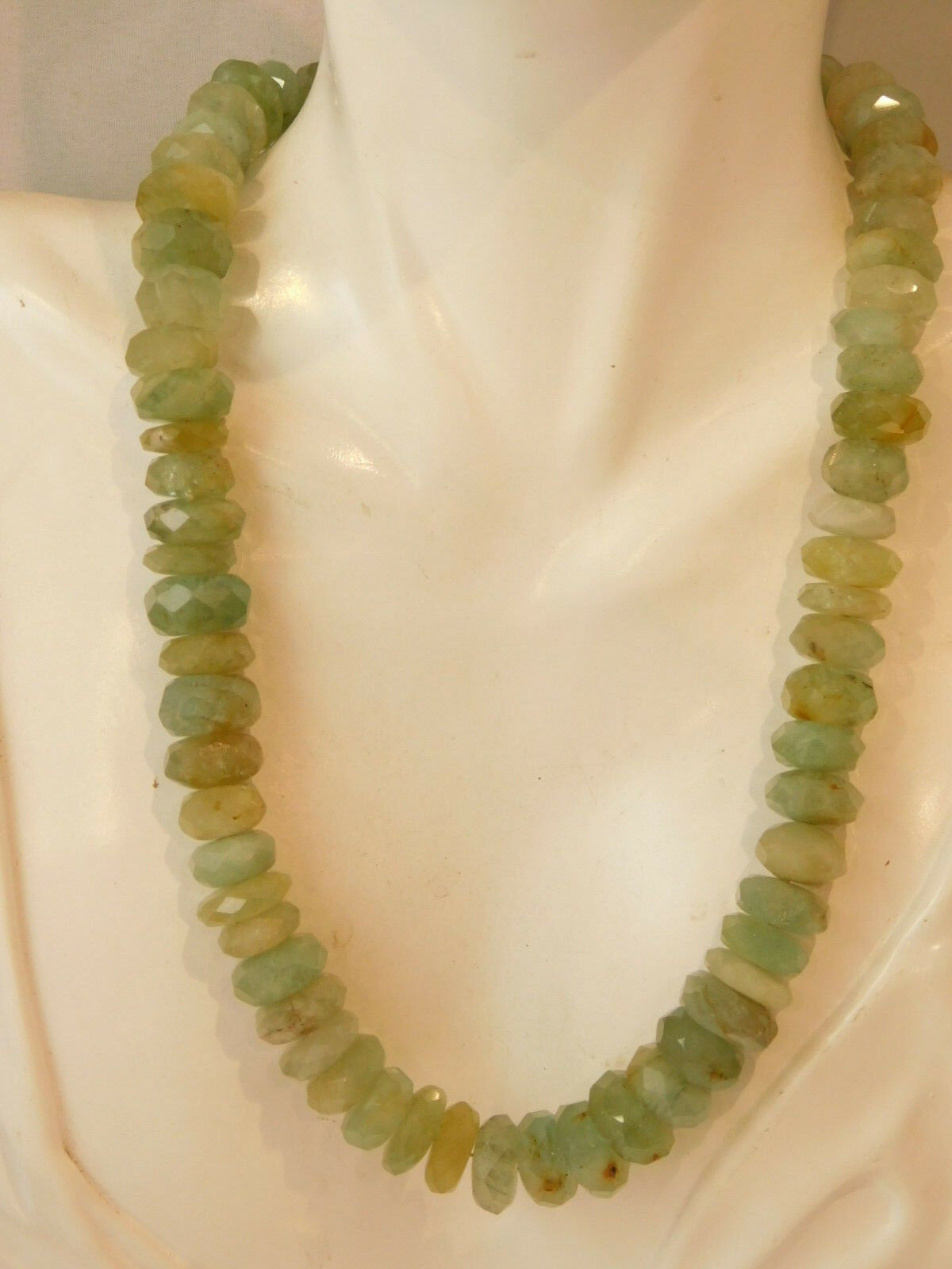 Sfaccettato 1.3cm Perlina Filo Blu verde Acquamarina Quarzo Quarzo Quarzo Pietra Collana 2j 0540f2