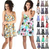 Women's Printed Swing Dress Ladies Mini Cami Strappy Vest Sleeveless Flared Top