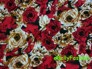 Lightweight-Indian-Rayon-Floral-Print-Fabric-Canvas-Costume-Cloth-45-034-Width