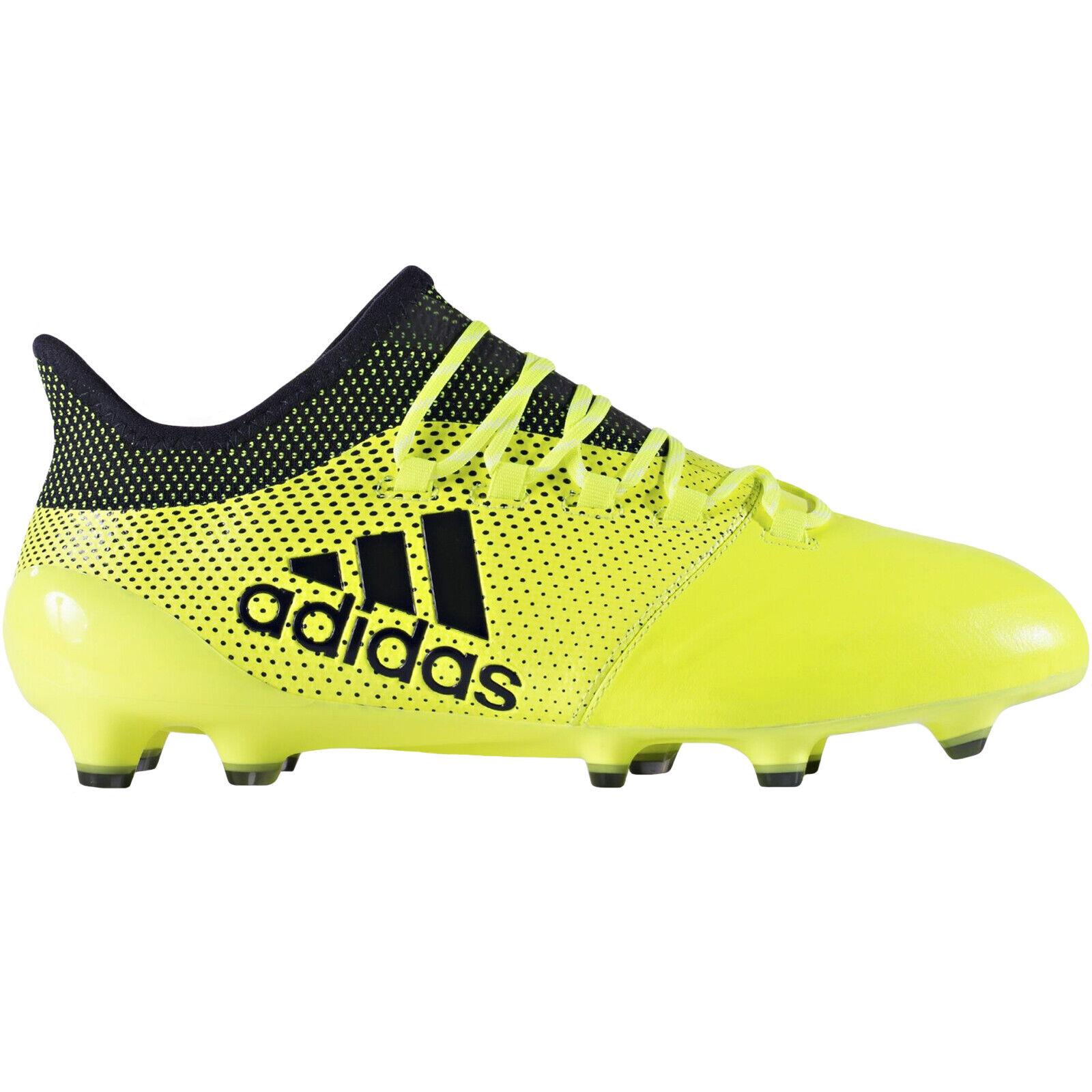 Adidas Performance Mens X 17.1 Leather Firm Ground Sports Football botas -amarillo