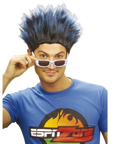 Short Spikey Blue Mens Wig Sports Scotland Football Rugby Punk Rocker Fancy Dres