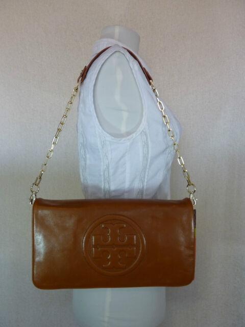 e7051c26b NWT Tory Burch Luggage Brown Leather BOMBE Reva Shoulder Bag Clutch -  350