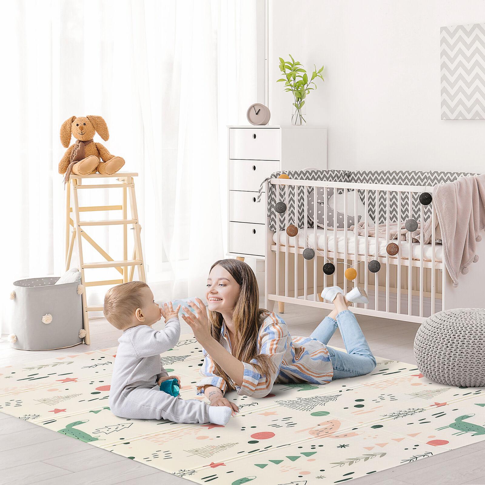 Alfombra Infantil Plegable Reversible Acolchado 2 Caras Impermeable 200x150 cm