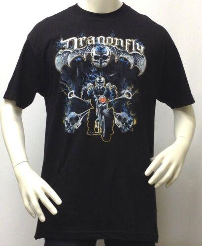 Men/'s T-Shirt-Dragonfly 3D Ghost Rider Skeleton Skull-Motorcycle-100/% Cotton