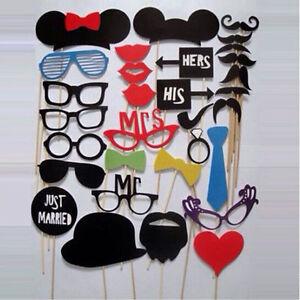31PCS-LOUS-DIY-Mask-Photo-Booth-Props-Mustache-On-A-Stick-Wedding-Birthday-BU