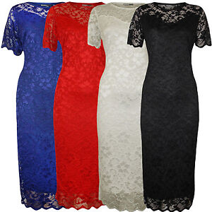 Ladies-Plus-Size-Nauvelle-Sweetheart-Lace-Lined-Bodycon-Floral-Midi-Dress