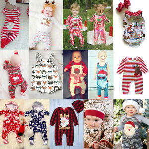 Newborn Kids Baby Girl Boy Romper Tops Jumpsuit Pants Christmas Outfits Clothes