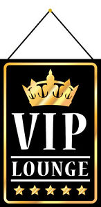 Vip Lounge Tin Sign Shield with Cord Metal 20 X 30 CM FA1192-K