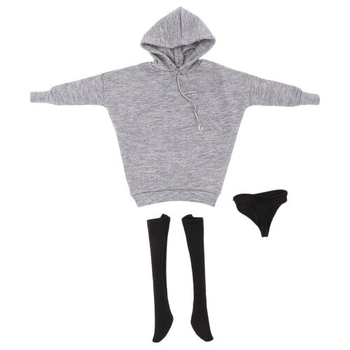 1//6 Female Doll Gray Hoodie Sweatshirt+Underwear+Stocking for 12/'/' HT CY CG