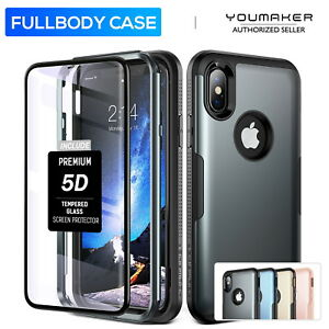 best service 0dae8 7608f Details about iPhone X Xs Case YOUMAKER Slim HEAVY DUTY Full Body Tough  Shockproof Case Cover