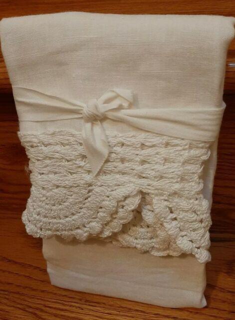 Pottery Barn King Crochet Linen Pillowcase Sham White Ebay