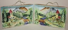 Vintage 3-D Pictures Bavarian Mountain Scene Ceramic Wall Hanging Set of 2
