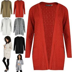 Womens-Chunky-Waffle-Open-Front-Pocket-Top-Ladies-Cable-Knit-Boyfriend-Cardigan