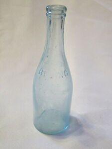 Antique-1840s-1870s-Aqua-Glass-Bottle-Frank-Miller-Bengal-Bluing-Laundry-RARE
