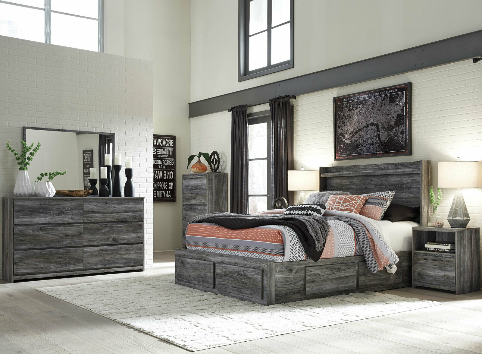 Modern Gray Finish 10 piece Bedroom Set w. King Size LED Lighted Storage Bed  IA10