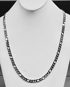 b144ef671dba9 Details about 14k Solid Gold Handmade Figaro Curb link mens chain/necklace  18