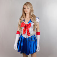 Japanese Anime Sexy Sailor Moon Girl Dress Costume w/Glove Set for Cosplay Party