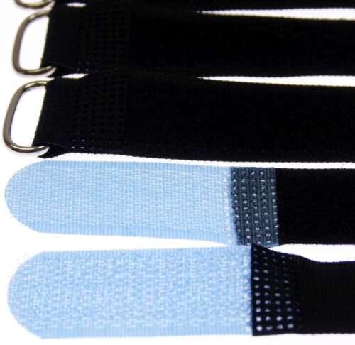 50 Kabelbinder Kabelklett 20 cm x 20 mm hell blau Klettband Klettkabelbinder Öse