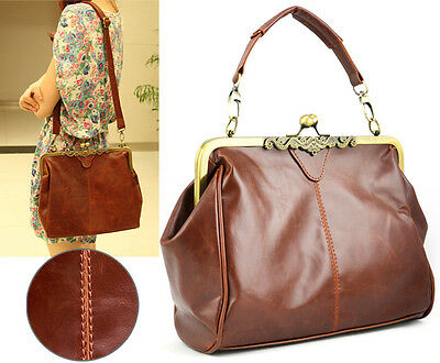 UK Womens Fashion Retro Vintage Satchel PU Leather Bag Shoulder Handbag Tote Bag