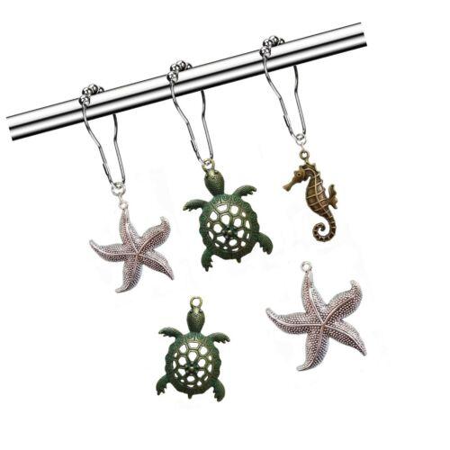 Details about  /Molika Shower Curtain Hooks Rings Rustproof Metal Curtain Hangers,Starfish ...