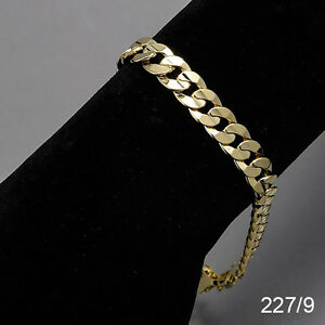 Men-039-s-14K-Yellow-Gold-Plated-9-Inches-Chain-Cuban-Link-Bracelet-8-mm-227-9