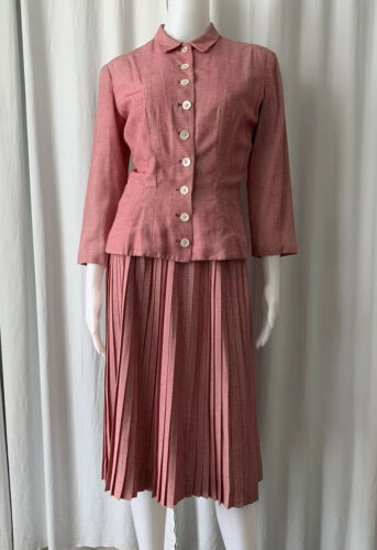 Vintage 50s Anne Fogarty Red Suit Pleated Skirt Fi