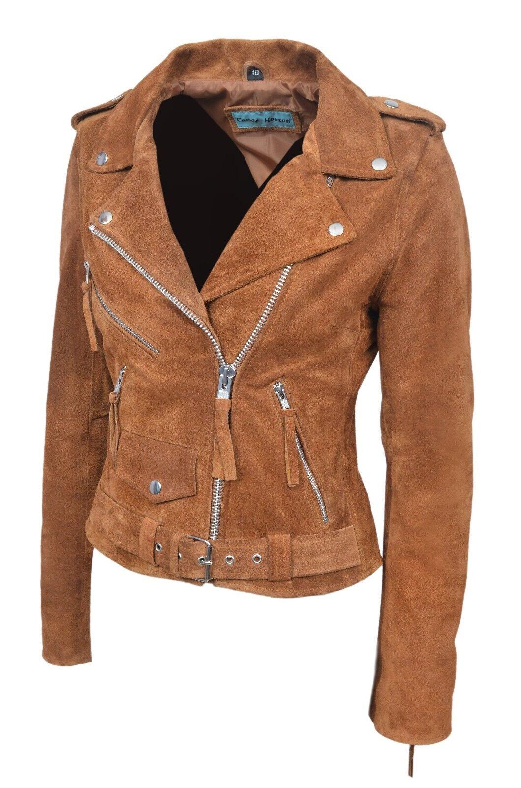 Nuevos elegantes  chaqueta de cuero Brando Damas Bronceado Cuero Gamuza Suave Estilo Motero  caliente
