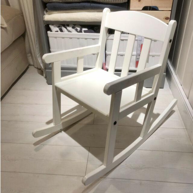 Ikea SUNDVIK Bambini Sedia a dondolo in Bianco legno massello Seggiolone