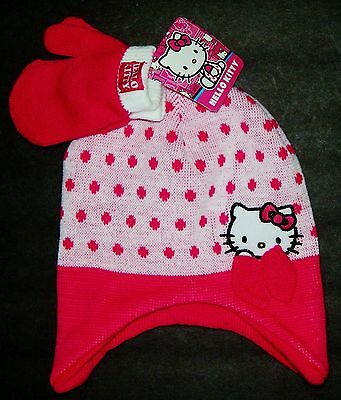 Hello Kitty Sanrio Blanc Bonnet Trappeur Chapeau Hiver & Mitaines Set W/tricot Clothing, Shoes & Accessories