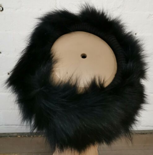 Black Real Genuine fox fur pelt Tête Oreille Chaud Unisexe Chapeau Hiver Ski Bandeau