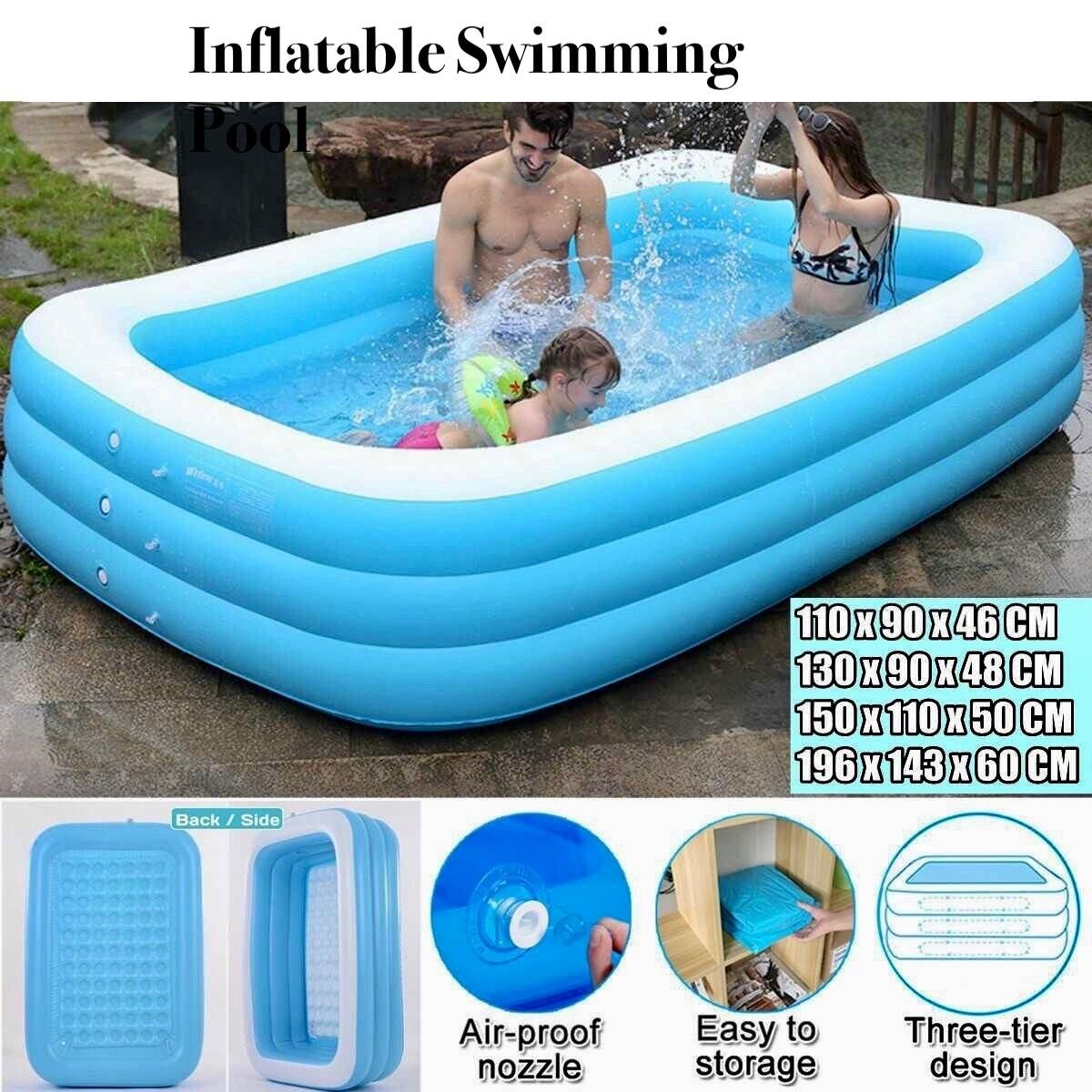 Inflatable Swimming Pool For Family Childrens Kids Baby Large Water Rectangular