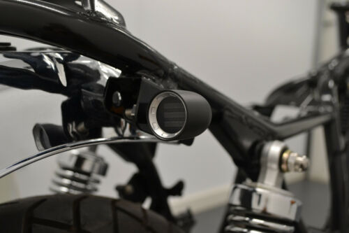 PAIR Motorbike LED Indicators Black with Chrome Bezel CNC Aluminium Custom