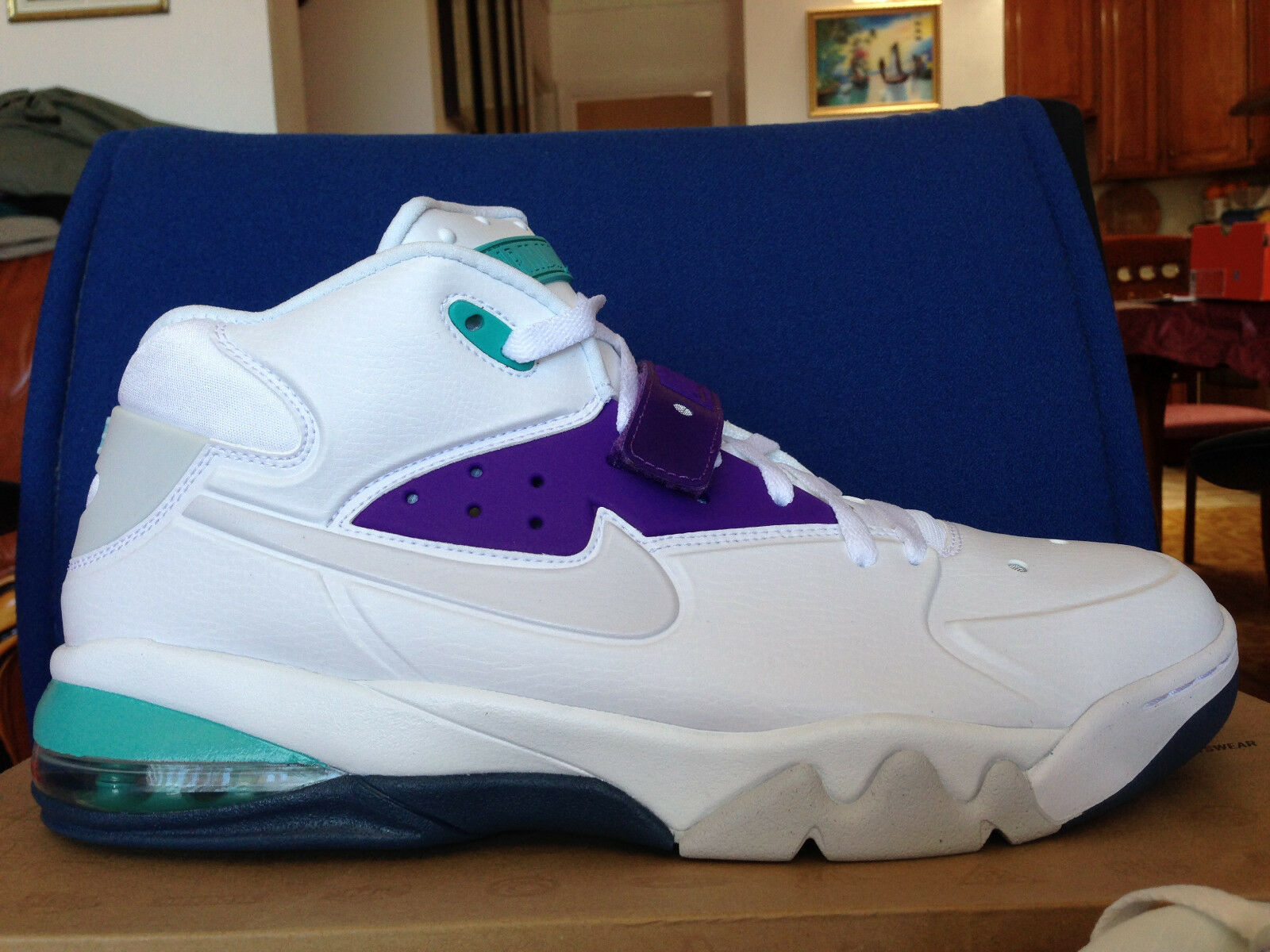 NIKE AIR FORCE MAX 2018 jordan hornets 55105 101 WHITE TEAL PURPLE GRAPE Sz 9