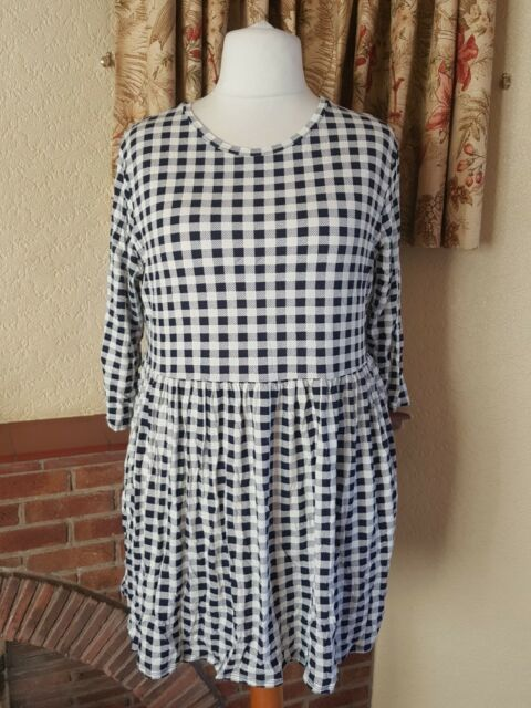 LADIES CREAM NAVY SQUARE SKATER DRESS BY DOROTHY PERKINS SIZE 20