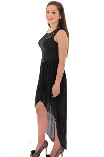 Ladies Lace Black Ivory Red Chiffon High Low Fishtail Maxi Women/'s Dress 8-14