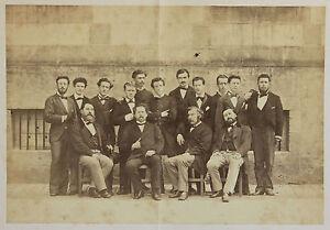 Gruppo Studenti Con Loro Insegnanti Vintage Albumina, Ca 1870