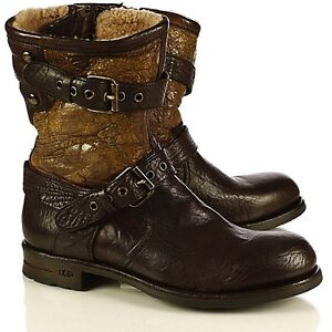 UGG® Collection Nigel Brown Short Leather Boots Men s Made in Italy ... 047633975