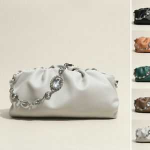 Rhinestone Chain Pouch Ruched Real Leather Shoulder bag Clutch Purse Baguette