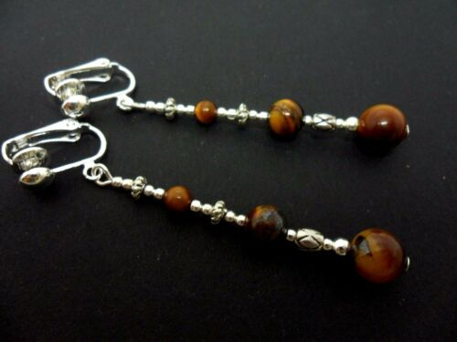 NEW. A PAIR TIBETAN SILVER TIGERS EYE  BEAD  EXTRA LONG CLIP ON  EARRINGS