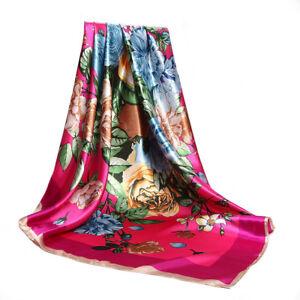 Carre-Foulard-100-Soie-Theme-Floral-Rose-Fushua-Silk-seide-scarf-shawl