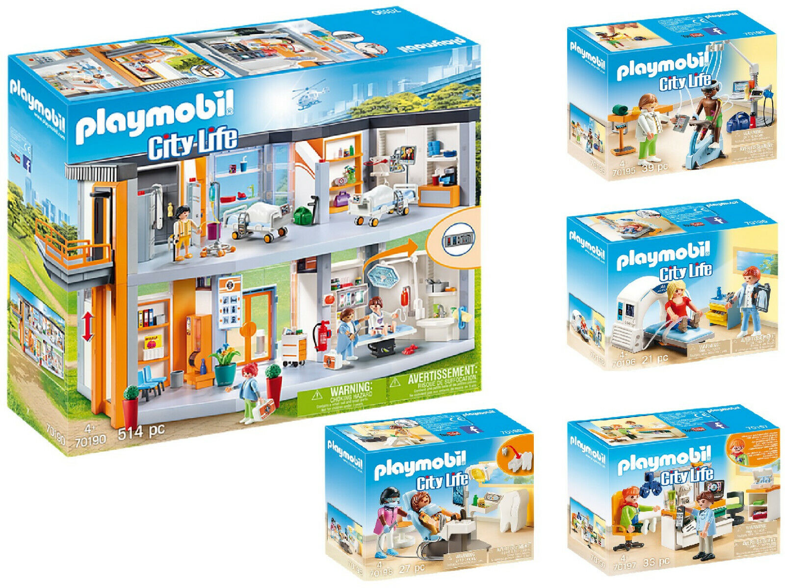 Playmobil® 70190 Krankenhaus mit Ärzten 70195 70196 70197 70198  5er Set neu ovp