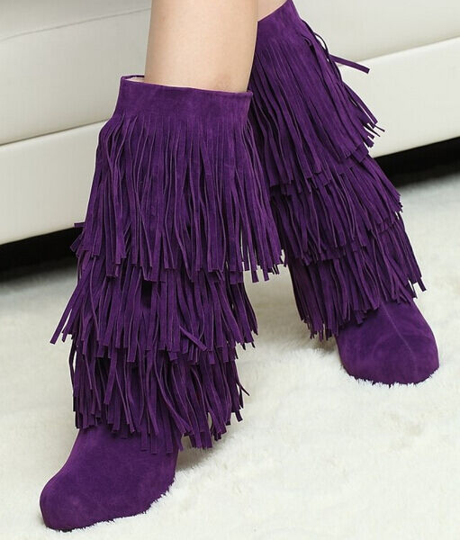 Hot Womens Tall High Heel Fringe Tassel Faux Suede Mid-Calf Boot Fashion shoes X