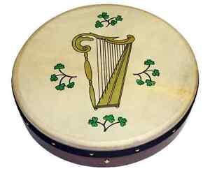 Irish-Bodhran-mit-HARP-Logo-18-x-3-5-Zoll-Stimmbar