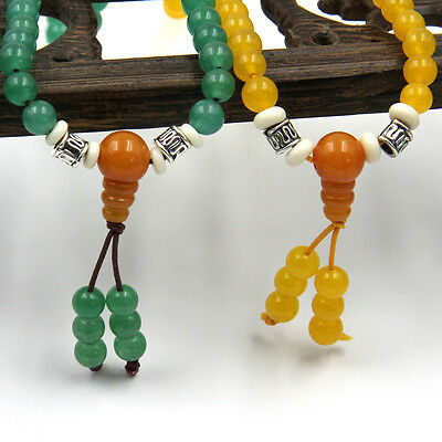 2Pcs Green Yellow Gemstone Tibet Buddhist 108 Prayer Beads Mala Necklace