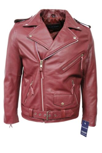 New Fashion Men/'s Brando Cherry Real Hide Leather Classic Biker Stylish Jacket