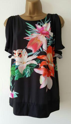 NEW ExW*llis 8-22 Cold Shoulder Floral Print Black Pink Orange Summer Top Blouse