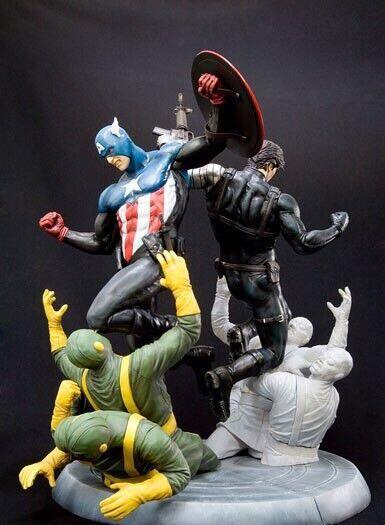 Kotobukiya New Captain America & Winter Soldier Fine Art Statues 2 Figure MARVEL