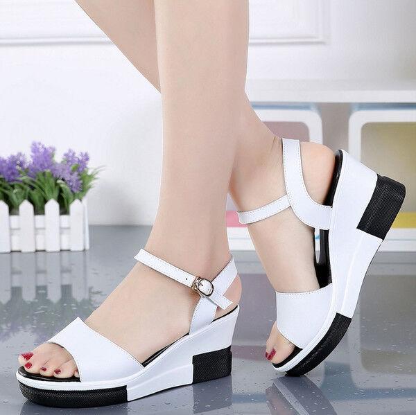 Sandali eleganti tacco zeppa comodi simil 7.5 cm bianco nero simil comodi pelle eleganti 9798 7bc6e7
