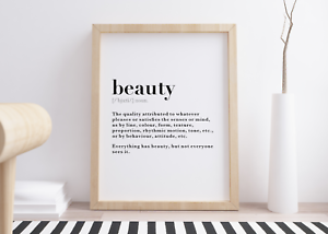 Beauty Dictionary Definition Meaning Wall Art Print Poster Salon Home Decor Gift Ebay