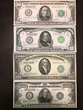 Reproduction Set 1928 Fed Reserve Notes $500, $1000, $5000, $10,000 High Denom